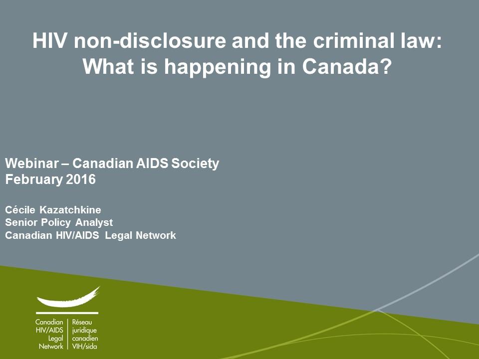 Criminal Law Regarding Hiv Disclosure