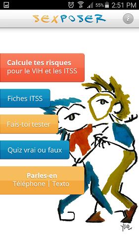 Un exemple de la menu de l'application Sexposer