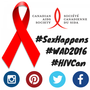 Use the hashtags #Sexhappens, #WAD2016, and #HIVCan in English
